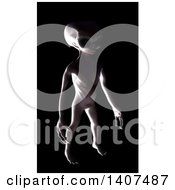 3d Alien Being On A Black Background