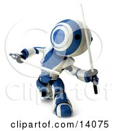 Blue And White Ninja Robot Fighting With Katanas
