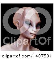 3d Alien Human Hybrid On A Black Background