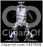Clipart Of A 3d Mason Monster On A Black Background Royalty Free Illustration by Leo Blanchette