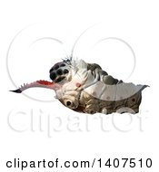 Clipart Of A 3d Parasitic Grub On A White Background Royalty Free Illustration by Leo Blanchette