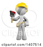 Poster, Art Print Of 3d White Female Painter Wearing A Hardhat And Holding A Paintbrush On A White Background