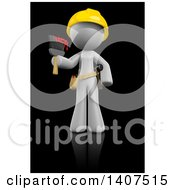 Poster, Art Print Of 3d White Female Painter Wearing A Hardhat And Holding A Paintbrush On A Black Background