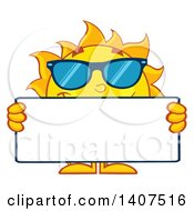 Clipart Of A Yellow Summer Time Sun Character Mascot Wearing Shades And Holding A Blank Sign Royalty Free Vector Illustration
