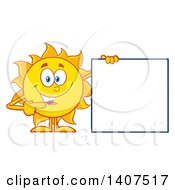 Clipart Of A Yellow Summer Time Sun Character Mascot Pointing To A Blank Sign Royalty Free Vector Illustration