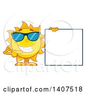 Clipart Of A Yellow Summer Time Sun Character Mascot Wearing Shades And Pointing To A Blank Sign Royalty Free Vector Illustration
