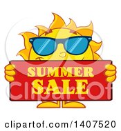 Clipart Of A Yellow Sun Character Mascot Holding A Summer Sale Sign Royalty Free Vector Illustration by Hit Toon