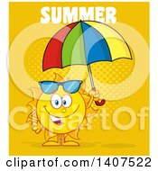 Clipart Of A Yellow Summer Time Sun Character Mascot Holding An Umbrella On Yellow Royalty Free Vector Illustration
