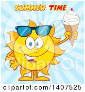 Clipart Of A Yellow Summer Time Sun Character Mascot Holding A Waffle Ice Cream Cone Over Blue Rays Royalty Free Vector Illustration