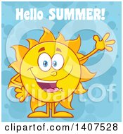 Clipart Of A Yellow Summer Time Sun Character Mascot Waving With Hellow Summer Text On A Blue Bubble Background Royalty Free Vector Illustration