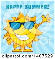 Clipart Of A Yellow Summer Time Sun Character Mascot Wearing Sunglasses And Waving With Happy Summer Text On A Blue Ray Background Royalty Free Vector Illustration
