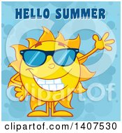 Clipart Of A Yellow Summer Time Sun Character Mascot Waving Under Hello Summer Text On A Blue Bubble Background Royalty Free Vector Illustration