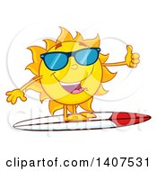 Clipart Of A Yellow Summer Time Sun Character Mascot Wearing Shades Giving A Thumb Up And Surfing Royalty Free Vector Illustration