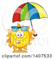 Clipart Of A Yellow Summer Time Sun Character Mascot Holding An Umbrella Royalty Free Vector Illustration by Hit Toon