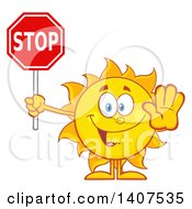 Clipart Of A Yellow Summer Time Sun Character Mascot Gesturing And Holding A Stop Sign Royalty Free Vector Illustration
