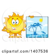 Clipart Of A Yellow Summer Time Sun Character Mascot Pointing To A Tropical Island Sign Royalty Free Vector Illustration