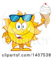 Clipart Of A Yellow Summer Time Sun Character Mascot Holding A Waffle Ice Cream Cone Royalty Free Vector Illustration