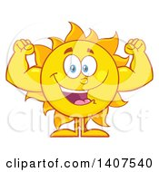 Clipart Of A Yellow Summer Time Sun Character Mascot Flexing His Muscles Royalty Free Vector Illustration