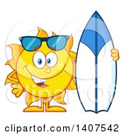 Yellow Summer Time Sun Character Mascot Standing With A Surfboard