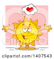 Clipart Of A Yellow Loving Summer Time Sun Character Mascot With Open Arms On Pink Royalty Free Vector Illustration