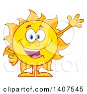 Clipart Of A Yellow Summer Time Sun Character Mascot Waving Royalty Free Vector Illustration by Hit Toon