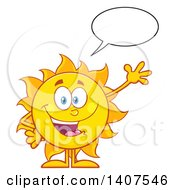 Clipart Of A Yellow Summer Time Sun Character Mascot Talking And Waving Royalty Free Vector Illustration
