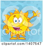 Clipart Of A Yellow Summer Time Sun Character Mascot Waving On A Blue Bubble Background Royalty Free Vector Illustration