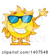 Clipart Of A Yellow Summer Time Sun Character Mascot Wearing Sunglasses And Waving Royalty Free Vector Illustration by Hit Toon