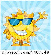 Clipart Of A Yellow Summer Time Sun Character Mascot Wearing Sunglasses And Waving On A Blue Ray Background Royalty Free Vector Illustration