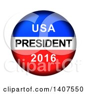 Red White And Blue Patriotic American USA President 2016 Vote Button On A White Background