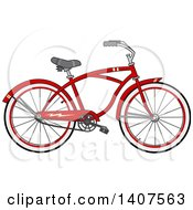 Clipart Of A Cartoon Red Bicycle Royalty Free Vector Illustration