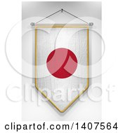 Clipart Of A 3d Hanging Japanese Flag Pennant On A Shaded Background Royalty Free Illustration by stockillustrations