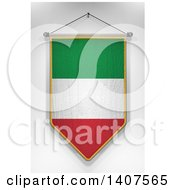 Clipart Of A 3d Hanging Italian Flag Pennant On A Shaded Background Royalty Free Illustration by stockillustrations