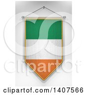 3d Hanging Irish Flag Pennant On A Shaded Background