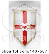 Clipart Of A 3d Hanging Northern Ireland Flag Pennant On A Shaded Background Royalty Free Illustration by stockillustrations