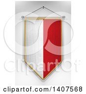 Clipart Of A 3d Hanging Poland Flag Pennant On A Shaded Background Royalty Free Illustration by stockillustrations
