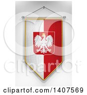 Clipart Of A 3d Hanging Polish Flag Pennant On A Shaded Background Royalty Free Illustration by stockillustrations