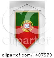 Clipart Of A 3d Hanging Portuguese Flag Pennant On A Shaded Background Royalty Free Illustration by stockillustrations