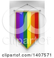 Clipart Of A 3d Hanging Rainbow Flag Pennant On A Shaded Background Royalty Free Illustration