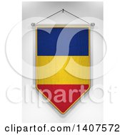 Clipart Of A 3d Hanging Romanian Flag Pennant On A Shaded Background Royalty Free Illustration by stockillustrations