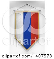 Clipart Of A 3d Hanging Russian Flag Pennant On A Shaded Background Royalty Free Illustration