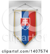 Clipart Of A 3d Hanging Slovak Flag Pennant On A Shaded Background Royalty Free Illustration by stockillustrations