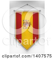 Clipart Of A 3d Hanging Spanish Flag Pennant On A Shaded Background Royalty Free Illustration