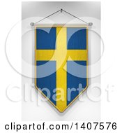 Clipart Of A 3d Hanging Swedish Flag Pennant On A Shaded Background Royalty Free Illustration by stockillustrations