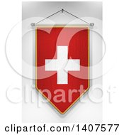 Clipart Of A 3d Hanging Swiss Flag Pennant On A Shaded Background Royalty Free Illustration by stockillustrations