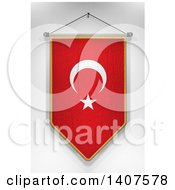 Clipart Of A 3d Hanging Turkish Flag Pennant On A Shaded Background Royalty Free Illustration by stockillustrations