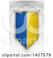 Clipart Of A 3d Hanging Ukrainian Flag Pennant On A Shaded Background Royalty Free Illustration by stockillustrations
