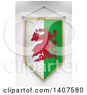 Clipart Of A 3d Hanging Welsh Flag Pennant On A Shaded Background Royalty Free Illustration by stockillustrations