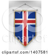 Clipart Of A 3d Hanging Icelander Flag Pennant On A Shaded Background Royalty Free Illustration by stockillustrations