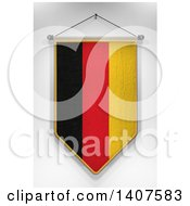 Clipart Of A 3d Hanging German Flag Pennant On A Shaded Background Royalty Free Illustration by stockillustrations